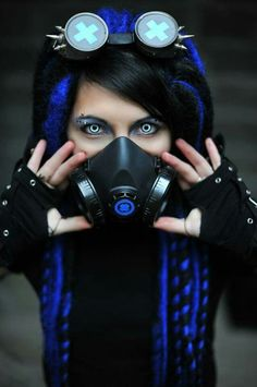 Cybergoth girl with gas mask