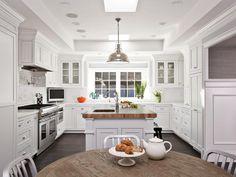 DP_Fiorella-Design-White-Kitchen-Breakfast-Area-2 - on HGTV  Butcher block island.
