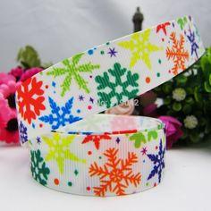 149212 ,22mm Cartoon Christmas Snowflake Series printed grosgrain ribbon,Clothing accessories,DIY jewelry wedding package