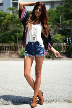 Kimono, high waisted shorts, white flowy tank, long necklace, & boots