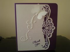 Thank you card made with the Pavo Gemini die from the Sue Wilson collection.
