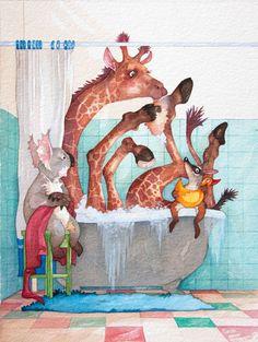 Illustrations from A Giraffe in the Bath.  Pinned by http://www.wordsfromdaddysmouth.com.au