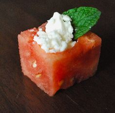 watermelon feta bites. Healthy and refreshing appetizer - this on a salad with sliced almonds would be delicious!