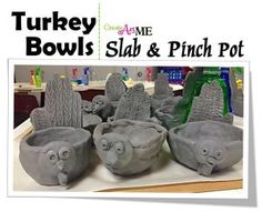 Ceramic Turkey and Hand-print Pinch Pot Lesson is a clay art lesson that is targeted to elementary grade) and teaches both slab & pinch pot techniques. It is a fun & positive fall themed clay project that the children could use through the fall season. Clay Projects For Kids, Kids Clay, Elementary Art Lesson Plans, Ceramic Pinch Pots, Sculpture Lessons, Ceramic Sculptures, Decoupage, Ceramics Projects, Ceramics Ideas
