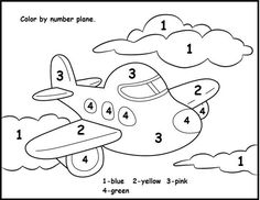Color Airplane Numbers Math Coloring Pages See the category to find more printable coloring sheets. Also, you could use the search box to find what yo... Coloring Worksheets For Kindergarten, Preschool Color Activities, Kindergarten Colors, Numbers Kindergarten, Numbers Preschool, Preschool Printables, Worksheets For Kids, Number Worksheets, Preschool Alphabet