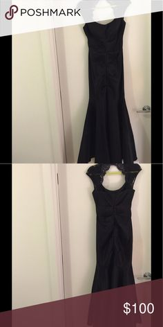 Ball gown Black mermaid bottom dress with lace shoulder detail. Will fit athletic/curvy frame. Brand from Lord & Taylor Other