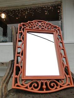 "Large Vintage Ornate Mirror Beach Cottage Chic Teen Dorm Room Nursery Decor in Burnt Orange ""Cinnimon"". $60.00, via Etsy."