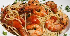ΘΑΛΑΣΣΙΝΑ   Συνταγή για μακαρονάδα με γαρίδες Pasta Recipies, Crepes, Shrimp, Spaghetti, Meat, Ethnic Recipes, Food, Pancakes, Essen