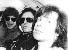 Elliot Easton, Benjamin Orr, and David Robinson of The Cars (photo by bandmate Greg Hawkes).  A hilarious contrast between seriousness and silliness