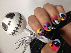 Sally's from the nightmare before Christmas nails.  Nailart.