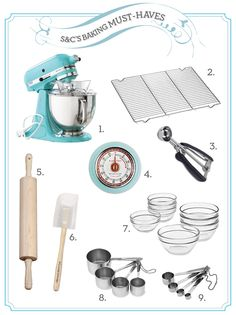 I wish all my baking supplies matched like these! My Kitchenaid Stand Mixer is cream colored and quite old. A hand-me-down, but I do love it so. Baking recipes for kids Baking Gadgets, Baking Tools, Kitchen Gadgets, Baking Items, Kitchen Stuff, Kitchen Appliances, Cooking Supplies, Kitchen Supplies, Cooking Tips