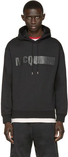 McQ Alexander Mcqueen - Black Leather Logo Hoodie