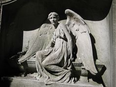 Stone Angel seated on coffin looking away Woodlawn Cemetery NYC