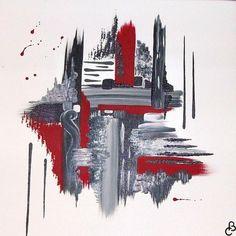 tableau abstrait mélancolie noir et rouge