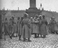 Women Guards in front of the Winter Palace, Russian Revolution