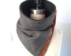 Black and cream herringbone Italian wool cowl, scarf