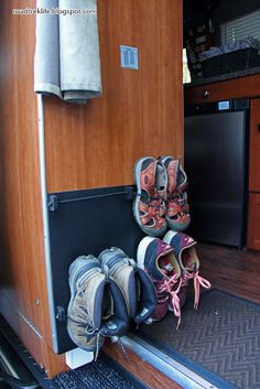 Roadtrek Modifications/ Mods, RV Upgrades /Modificatios, Campgrounds, Class B Mods / Modifications.: Wall Mounted Shoe Storage Rack for Roadtrek Agile. - Tap The Link Now To Find Gadgets for Survival and Outdoor Camping Camper Hacks, Rv Hacks, Life Hacks, Caravan Hacks, Hacks Diy, Life Tips, Travel Hacks, Travel Ideas, Camping Storage