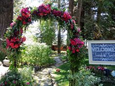 Wow your guests from the moment they arrive with a gorgeous garden arch to welcome them. Flowers by B&B Designs www.bandbflowerdesigns.com; event design by Once Upon a Time Events www.onceuponatimeevents.com; #flowerarch #gardenarch #weddingentrance #bandbdesigns