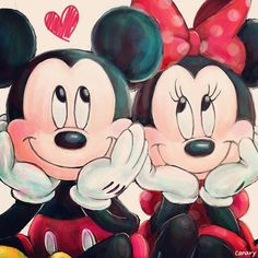 Mickey & Minnie daydreaming while they're in love.