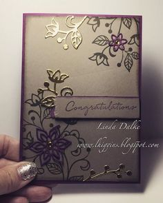 Linda Dalke: The set I HAD to have. Flourishing Phrases from Stampin'Up! Stampin Up Anleitung, Wedding Anniversary Cards, Wedding Cards, Stampin Up Catalog, Making Greeting Cards, Embossed Cards, Stamping Up Cards, Congratulations Card, Tampons