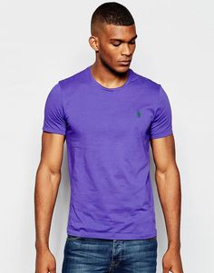 "T-shirt by Polo Ralph Lauren Soft-touch, cotton jersey Crew neck Embroidered polo player Regular fit - true to size Machine wash 100% Cotton Our model wears a size Medium and is 188cm/6'2"" tall"