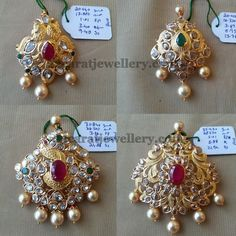 Small and Big Uncut Diamond Pendants Gold Earrings Designs, Gold Jewellery Design, Necklace Designs, Gold Jewelry, Pendant Jewelry, Designer Jewellery, Pendant Necklace, Pearl Jewelry, Beaded Jewelry