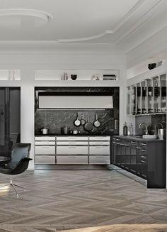 Küche, dunkel, schwarz, schwarze Küche, dunkle Küche, Idee, Bild, Inspiration, Kräuter, Design, Designer Küche, Insel, Kochinsel, Kücheninsel; Foto: SieMatic