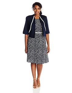 Maya Brooke Womens Plus-Size Dot Print Contrast Banded Fit Jacket and Dress Set