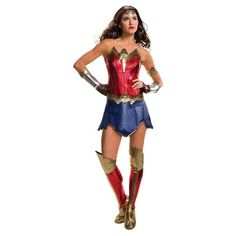 • 100% polyester<br>• For ages 18 and up<br><br>For Halloween or dress up, the Dawn of Justice Comics Deluxe Wonder Woman Adult Costume will make you feel heroic. This Halloween costume comes with a dress, gauntlets, arm bands and boot covers.