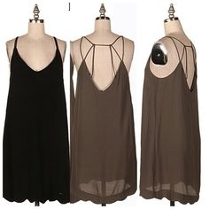 New...Scallop hem strappy dress New..Scallop hem strappy dress..color Black Dresses