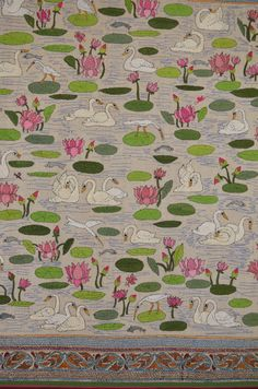 Lotus and Swan -- Kantha work embroidery.