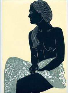 Ellen Von Wiegand Prints #stillness by Ellen VW #printmaking #linocut #linoprint…