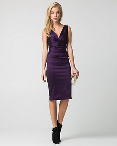 Taffeta V-Neck Cocktail Dress - We love the body-hugging fit of our classic taffeta cocktail dress designed with an alluring V-neck finish.