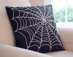 Spider Web Pillow Cover Arachnophobia Spiderweb #Halloween by BubbleGumDish