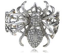 Metal Silver Tone Big Spider Man Web Fashion Rhinestone Bangle Bracelet Cuff
