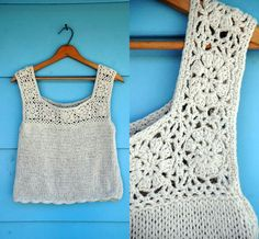 cream crochet crop tank with scallop hem. s-l from MediaVueltaVintage on Etsy. Crochet Tank, Crochet Blouse, Crochet Summer Tops, Scalloped Hem, Vintage Sweaters, Crop Tank, Crochet Clothes, Vintage Fashion, Knitting