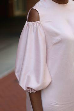 DIY cut out shoulder silk dress – Beaute& J& African Attire, African Fashion Dresses, African Wear, African Dress, Simple Outfits, Simple Dresses, Chic Outfits, Shirt Transformation, Pencil Skirt Outfits