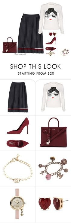 """""""College Chic"""" by quianashinae on Polyvore featuring Alice + Olivia, Sergio Rossi, Yves Saint Laurent, Chanel, Vivienne Westwood and Betsey Johnson"""