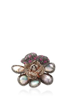 One of a Kind Opal Flower Ring with diamonds and sapphires set in 18k Rose Gold by Wendy Yue - Resort 2015 (=)