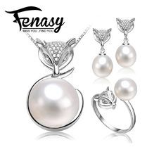 FENASY  natural Pearl set, jewelry sets 925 silver pearl necklace and earrings for women, earring women girl best gifts