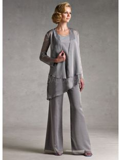 Classic Silver Gray Chiffon Mother Of The Bride Pant Suits - bridalok.com