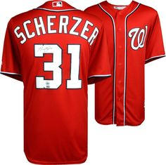abfb0ab2c Max Scherzer Washington Nationals Autographed Red Majestic Replica Jersey   sportsmemorabilia  autograph  jersey Nationals. Nationals BaseballBaseball  ...
