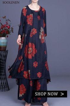 Chic Navy Print long smock Wide Leg Silk Women Two Pieces Sets Loose Fit, Wide Leg, Women Wear, Ladies Wear, Two Pieces, Silk Dress, Smocking, What To Wear, Cold Shoulder Dress