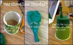 Marshmallow shooters help reinforce push and pull, force, AND measurement!