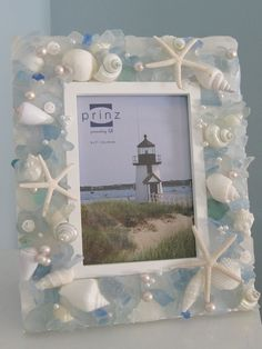 sea glass mirror | Seashell/Sea Glass Mirror | Coastal Decor