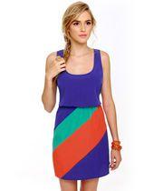 Trio Trimmings Blue Color Block Dress