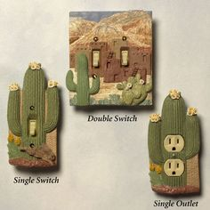 Southwest Cactus Switchplates  i wish i had a double switchplate to use the middle one on!