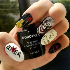 """You 'll float too. 🎈 """"IT"""" inspired nail art using @dorothylcosmetics one step gel nail polishes  Polishes used: · DOROTHY L one step color polish gel No. 20 ·DOROTHY L one step color polish gel No. 16 ·DOROTHY L one step color polish gel No. 01  Find me on facebook @Stellatnails  #nails #DorothyL #dorothylcosmetics #It #Itmovie2017 #pennywise #nailart #gelpolish #gel #red #black #white #YoullFloatToo Nail Polishes, Gel Nail Polish, Gel Nails, Uv Led, Red Black, Nailart, Nail Designs, Facebook, Photo And Video"""