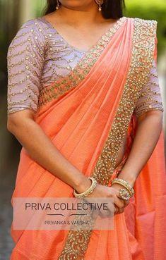 Silk Saree Blouse Designs, Fancy Blouse Designs, Blouse Neck Designs, Blouse Patterns, Sleeve Designs, Fancy Sarees, Party Wear Sarees, Lace Saree, Sari Silk
