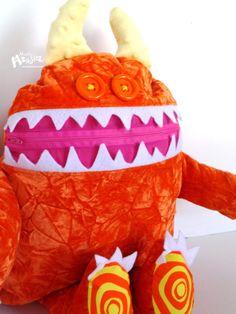 Cuddle Monster Pillow ORANGE COSMIC SWIRL zipper mouth pajama eater